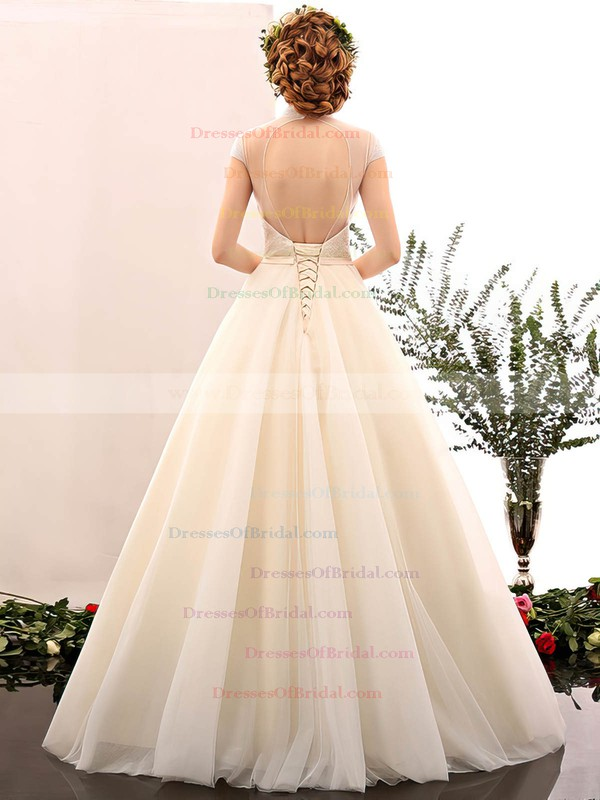 Ball Gown High Neck Tulle with Beading Floor-length Fabulous Open Back Wedding Dresses #DOB00022848