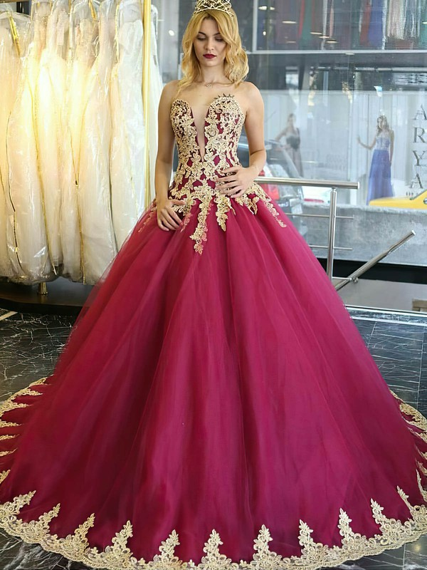 Boutique Sweetheart Burgundy Tulle Appliques Lace Sweep Train Ball Gown Wedding Dresses #DOB00022849
