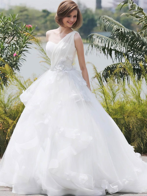 Glamorous Ball Gown Tulle with Flower(s) Sweep Train One Shoulder Wedding Dresses #DOB00022850