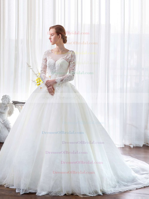 Ball Gown Scoop Neck Tulle Lace Appliques Lace Chapel Train Classy Long Sleeve Wedding Dresses #DOB00022851