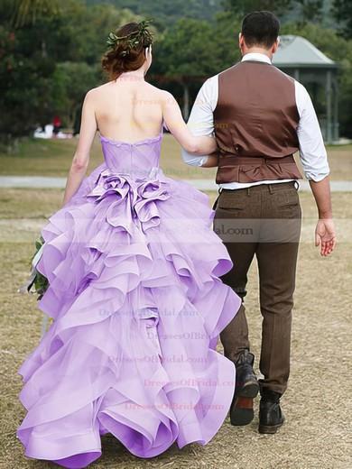 Exclusive Asymmetrical A-line Halter Organza Cascading Ruffles High Low Wedding Dresses #DOB00022852