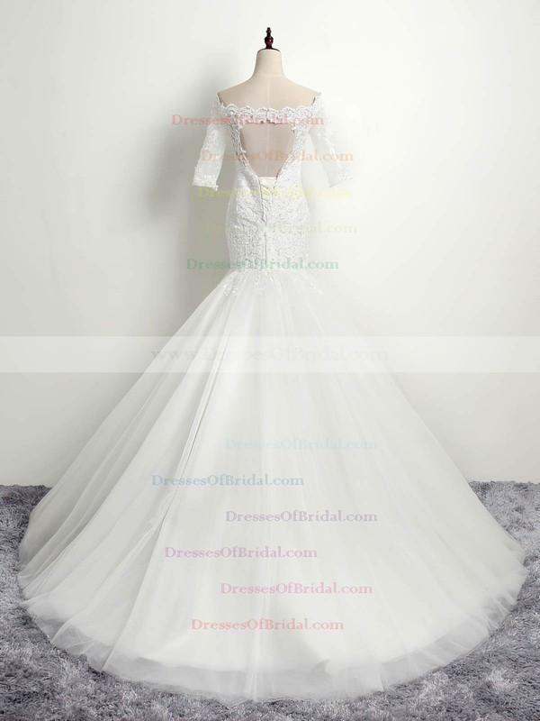 Trumpet/Mermaid Off-the-shoulder Tulle Appliques Lace Sweep Train Elegant 1/2 Sleeve Open Back Wedding Dresses #DOB00022853