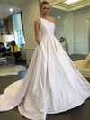 Classic Ball Gown Satin with Ruffles Sweep Train One Shoulder Wedding Dresses #DOB00022855