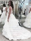 Princess Scoop Neck Organza Ruffles Sweep Train Boutique Two Piece Backless Wedding Dresses #DOB00022856