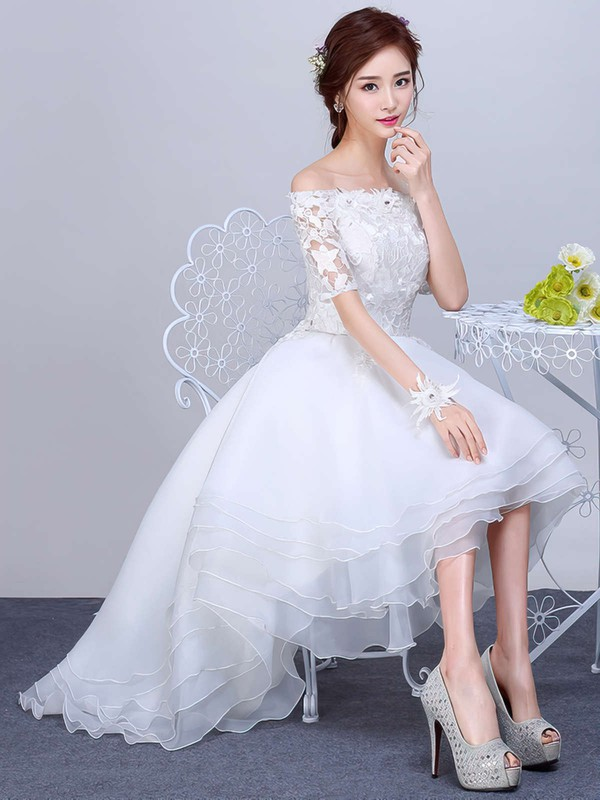 Asymmetrical A-line Off-the-shoulder Organza Tulle Appliques Lace 1/2 Sleeve High Low Pretty Wedding Dresses #DOB00022857