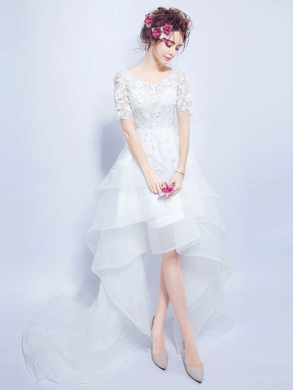 Sweet Asymmetrical A-line V-neck Organza Tulle Appliques Lace Short Sleeve High Low Wedding Dresses #DOB00022858
