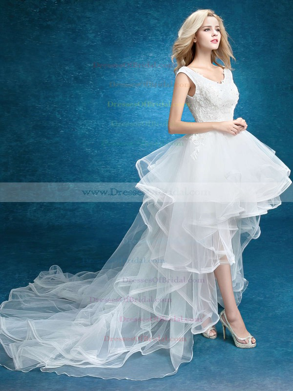 Asymmetrical A-line V-neck Tulle with Appliques Lace High Low Unique Wedding Dresses #DOB00022859