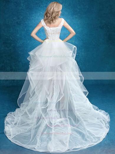 Asymmetrical A-line V-neck Tulle with Appliques Lace High Low Unique Wedding Dresses #DOB00022859