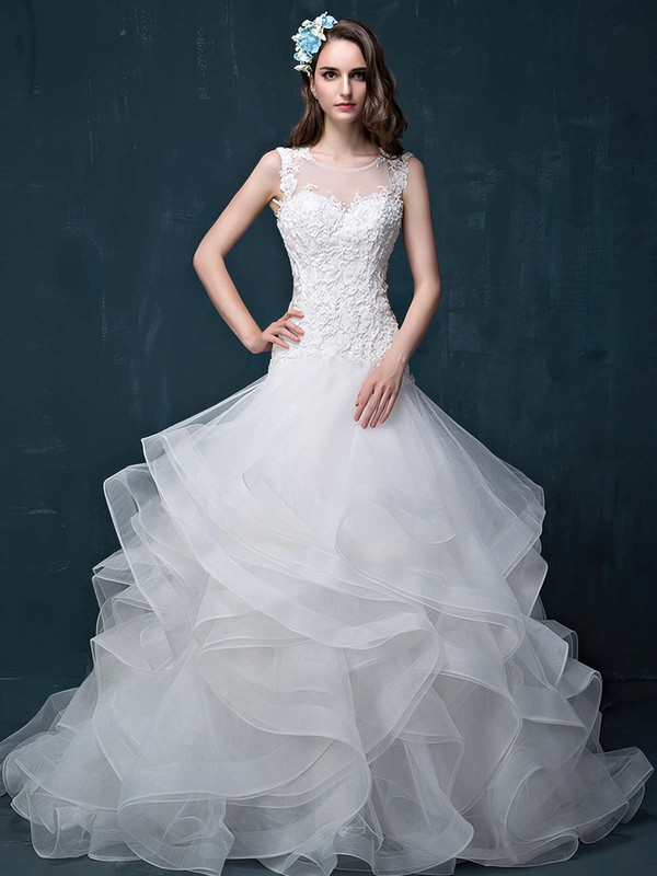Trumpet/Mermaid Scoop Neck Organza Tulle Appliques Lace Court Train Fabulous Open Back Wedding Dresses #DOB00022860