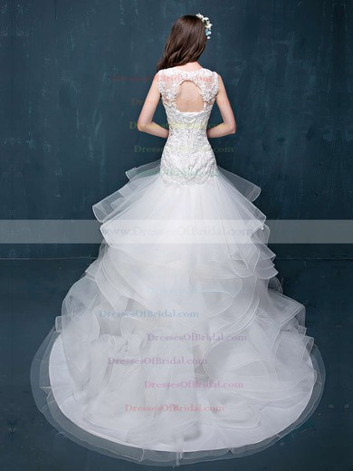 Trumpet/Mermaid Scoop Neck Organza Tulle Appliques Lace Court Train Fabulous Open Back Wedding Dresses #DOB00022860