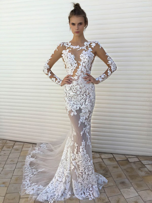 Sexy Trumpet/Mermaid Scoop Neck Tulle Appliques Lace Sweep Train Long Sleeve Wedding Dresses #DOB00022861