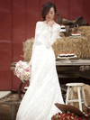 A-line Scoop Neck Lace Sashes / Ribbons Floor-length Newest Long Sleeve Wedding Dresses #DOB00022862