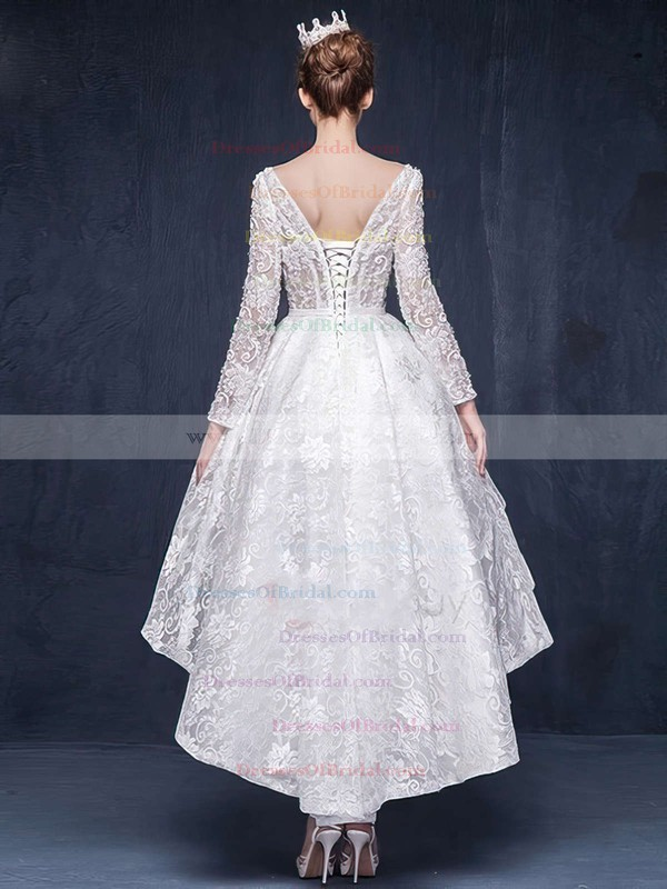 Different Asymmetrical A-line Scoop Neck Lace Beading Long Sleeve High Low Wedding Dresses #DOB00022863