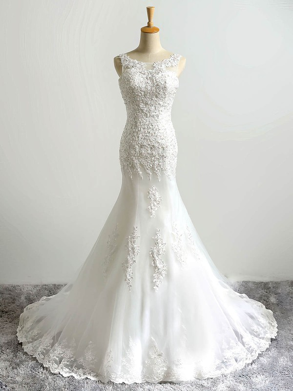 Scoop Neck Tulle with Sequins Sweep Train Lace-up Wholesale Trumpet/Mermaid Wedding Dresses #DOB00022864