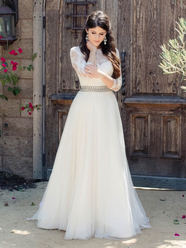 Beautiful A-line Scoop Neck Tulle Appliques Lace Floor-length 3/4 Sleeve Wedding Dresses #DOB00022865