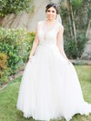 New Style A-line Scoop Neck Tulle with Sashes / Ribbons Sweep Train Wedding Dresses #DOB00022866