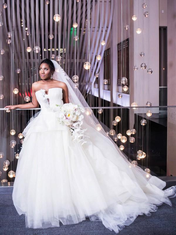 Ball Gown Strapless White Tulle Ruffles Court Train New Arrival Backless Wedding Dresses #DOB00022867