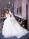 Ball Gown Strapless White Tulle Ruffles Court Train New Arrival Backless Wedding Dresses #DOB00022867