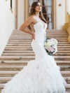 Sexy Trumpet/Mermaid Scoop Neck Tulle with Ruffles Sweep Train Wedding Dresses #DOB00022868