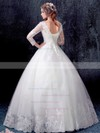 Prettiest Ball Gown V-neck White Tulle Appliques Lace Floor-length 3/4 Sleeve Wedding Dresses #DOB00022871