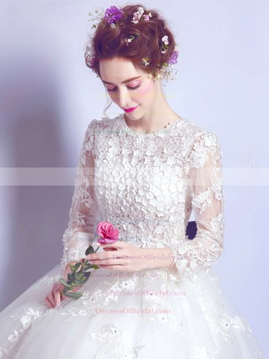 Ball Gown Scoop Neck Tulle Appliques Lace Floor-length Famous Long Sleeve Wedding Dresses #DOB00022872
