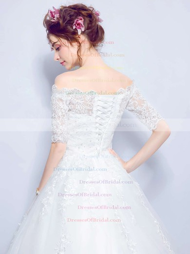Ball Gown Off-the-shoulder Tulle Appliques Lace Floor-length Sweet 1/2 Sleeve Wedding Dresses #DOB00022873
