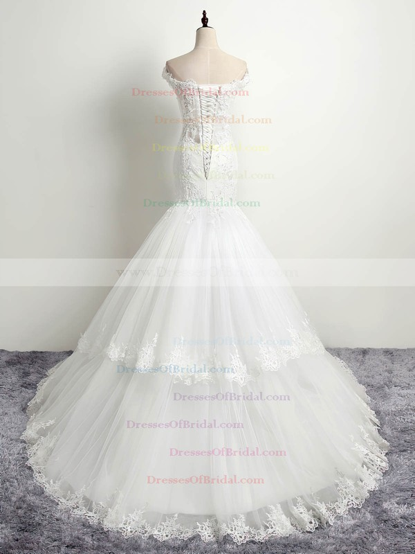 Affordable Scoop Neck Tulle with Appliques Lace Sweep Train Trumpet/Mermaid Wedding Dresses #DOB00022874