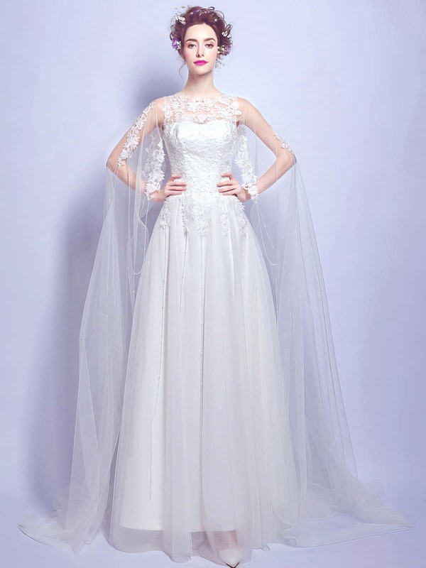Fabulous A-line Scoop Neck Tulle with Appliques Lace Floor-length Wedding Dresses #DOB00022875