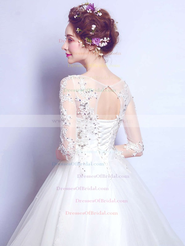 Ball Gown Scoop Neck Tulle Appliques Lace Floor-length Classy 1/2 Sleeve Wedding Dresses #DOB00022876
