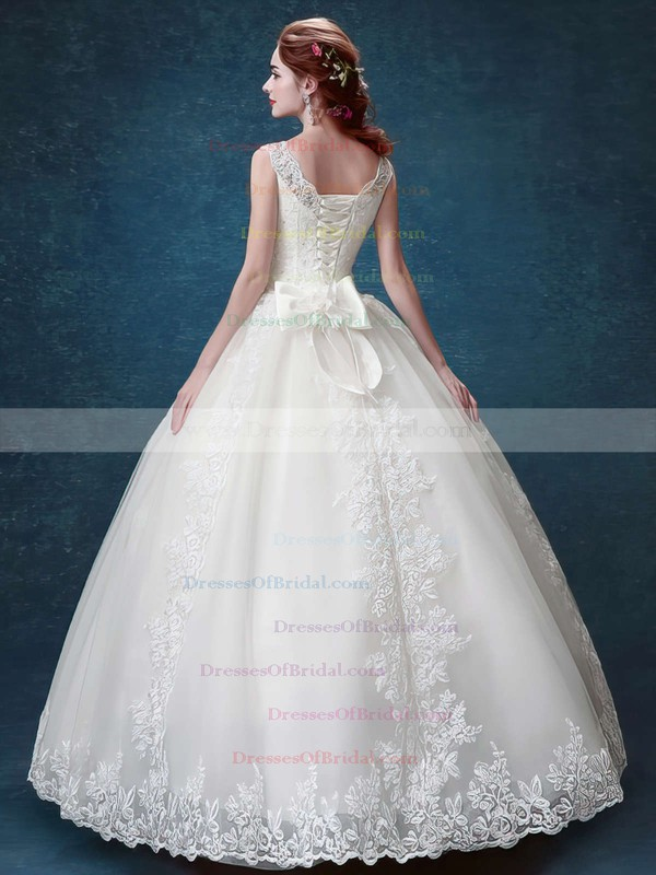 Elegant Scoop Neck Satin Tulle with Bow Floor-length Lace-up Ball Gown Wedding Dresses #DOB00022877