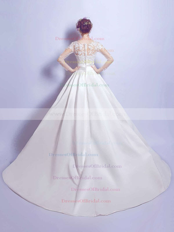 Ball Gown Scoop Neck Satin Tulle Appliques Lace Court Train Noble Long Sleeve Wedding Dresses #DOB00022879