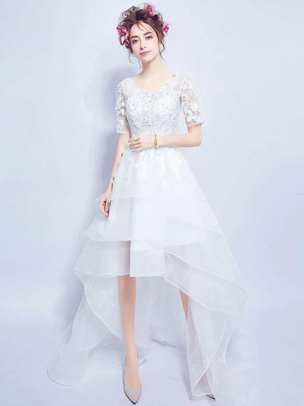Asymmetrical A-line Scoop Neck Organza Tulle Appliques Lace 1/2 Sleeve High Low Unique Wedding Dresses #DOB00022880