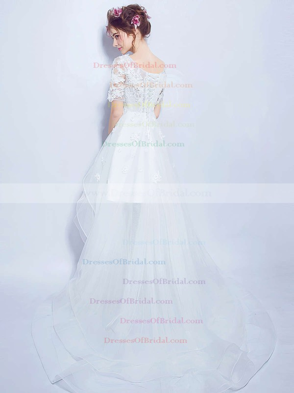 Asymmetrical A-line Scoop Neck Organza Tulle Appliques Lace 1/2 Sleeve High Low Unique Wedding Dresses #DOB00022880
