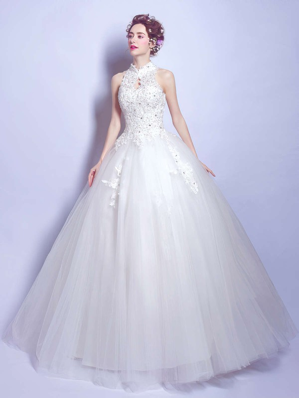 Modest Ball Gown High Neck Tulle Appliques Lace Floor-length Open Back Wedding Dresses #DOB00022881