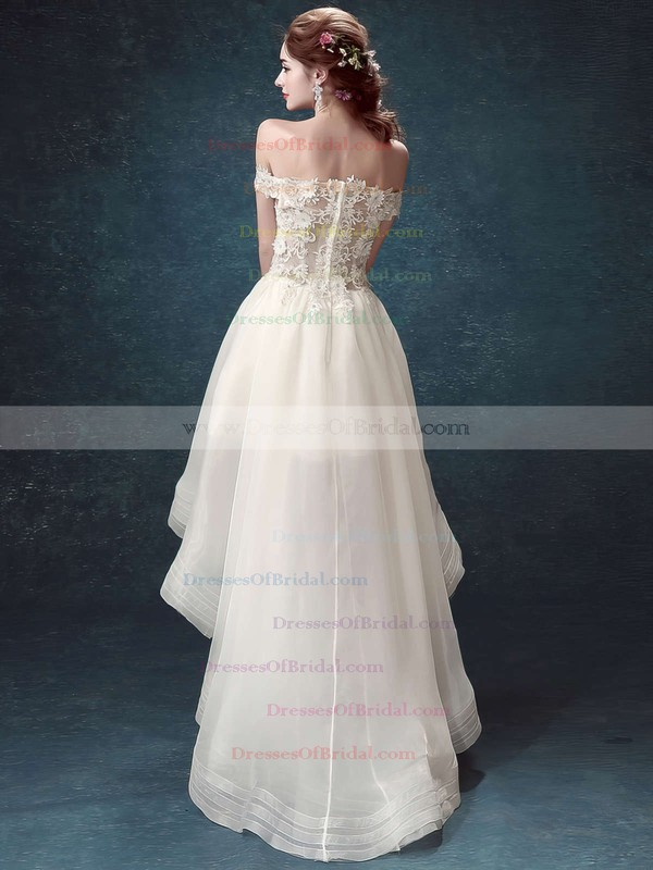 High Low A-line Off-the-shoulder Organza Tulle Appliques Lace Asymmetrical Different Wedding Dresses #DOB00022882