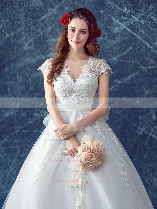 Beautiful V-neck Tulle Appliques Lace Court Train Cap Straps Ball Gown Wedding Dresses #DOB00022883