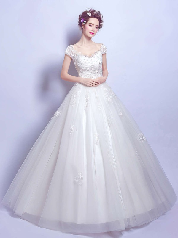 Ball Gown V-neck Tulle Appliques Lace Floor-length Perfect Short Sleeve Wedding Dresses #DOB00022884