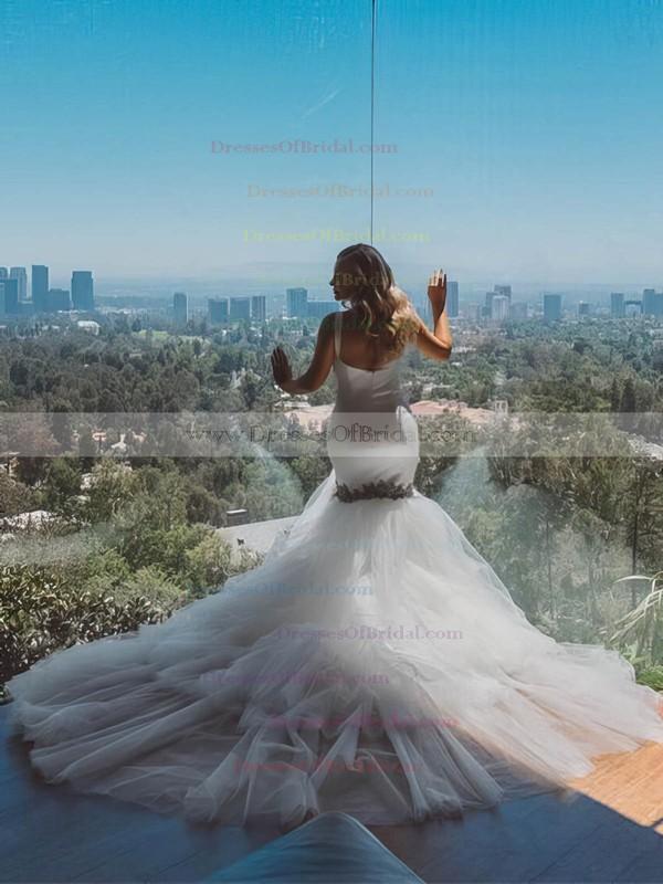 Trumpet/Mermaid V-neck Tulle with Beading Court Train Amazing Backless Wedding Dresses #DOB00022885