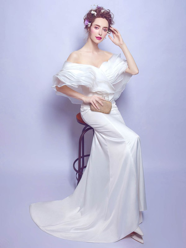 Latest Trumpet/Mermaid Organza Silk-like Satin Ruffles Sweep Train Off-the-shoulder Wedding Dresses #DOB00022887