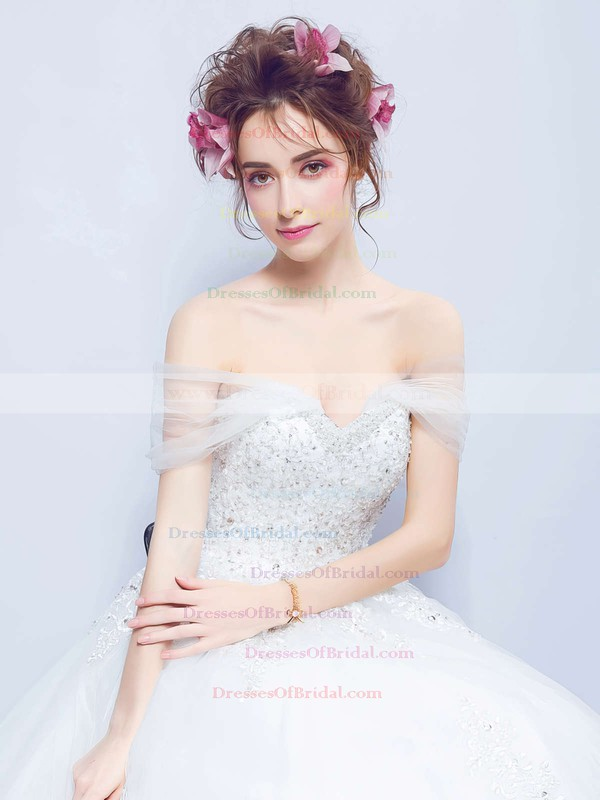 Ball Gown Off-the-shoulder Tulle with Beading Court Train Glamorous Backless Wedding Dresses #DOB00022888