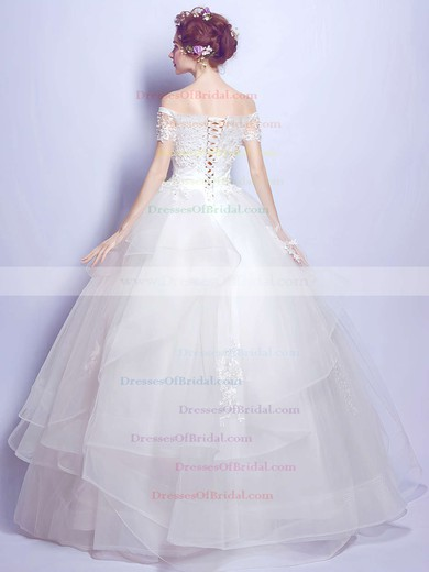 Ball Gown Off-the-shoulder Organza Tulle Pearl Detailing Floor-length Sweet Short Sleeve Wedding Dresses #DOB00022889