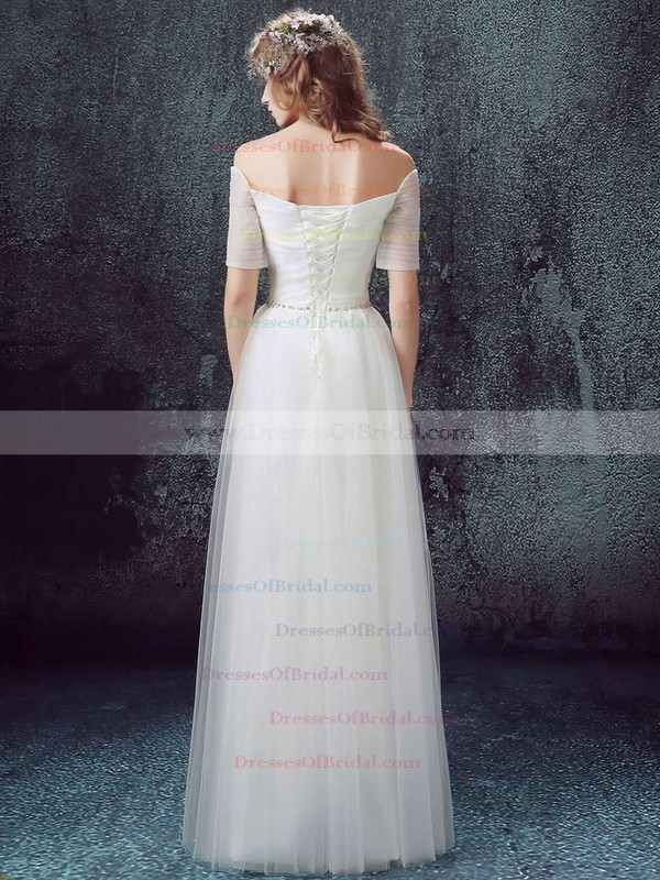 A-line Off-the-shoulder Tulle with Ruffles Floor-length Famous Short Sleeve Wedding Dresses #DOB00022890