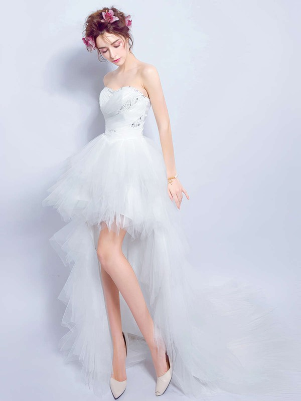 Asymmetrical A-line Sweetheart Tulle with Beading High Low New Arrival Wedding Dresses #DOB00022891