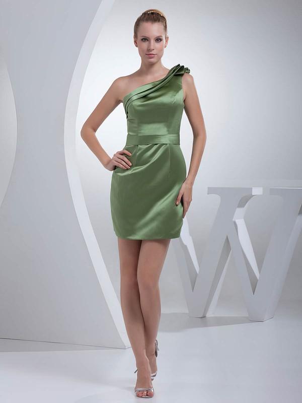 One Shoulder Sheath/Column Short/Mini Satin Ruched Bridesmaid Dresses #DOB01011695