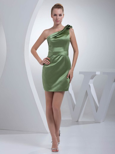 One Shoulder Sheath/Column Short/Mini Satin Ruched Bridesmaid Dresses #DOB01011695