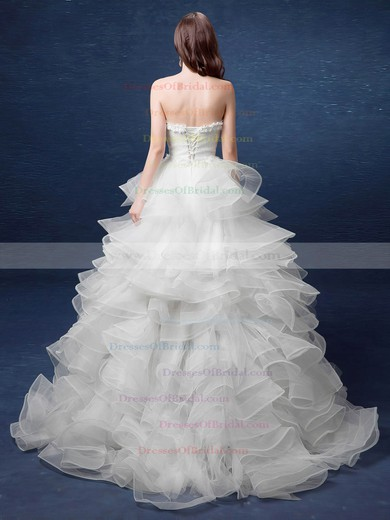 Exclusive High Low A-line Sweetheart Organza with Tiered Asymmetrical Wedding Dresses #DOB00022892