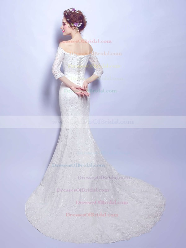 Trumpet/Mermaid Off-the-shoulder Lace with Beading Sweep Train Fabulous 3/4 Sleeve Wedding Dresses #DOB00022893