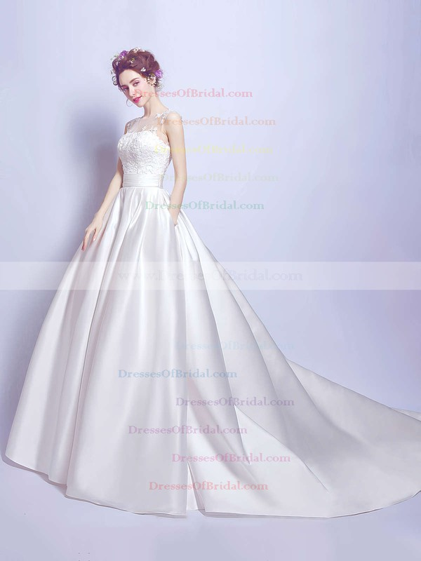 Classic Scoop Neck Satin Tulle with Appliques Lace Court Train Ball Gown Wedding Dresses #DOB00022894
