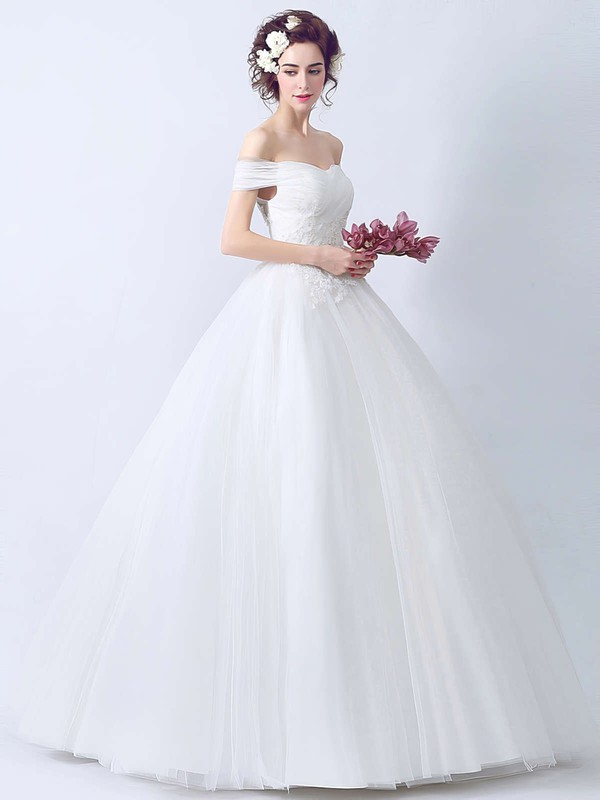 Latest Ball Gown Tulle with Appliques Lace Floor-length Off-the-shoulder Wedding Dresses #DOB00022895