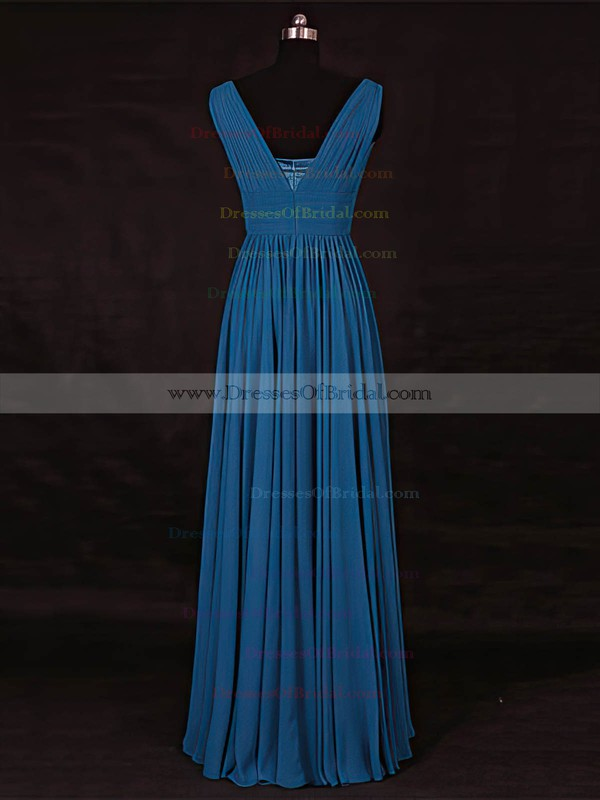 Chiffon A-line V-neck Floor-length with Ruffles Bridesmaid Dresses #DOB01013115